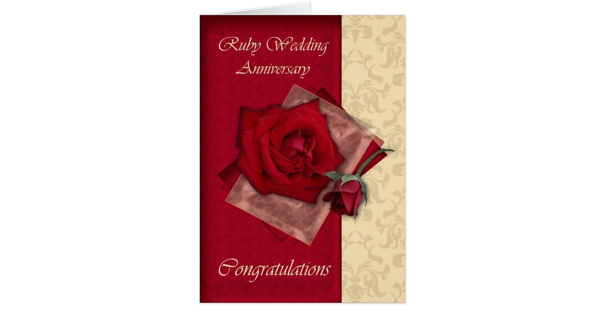 Gifts For A Ruby Wedding Anniversary: 40th Ruby Wedding Anniversary Congratulations Card