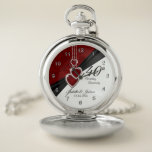 """40th Ruby Wedding Anniversary Design 2 Pocket Watch<br><div class=""""desc"""">Pocket Watch. 40th, 52nd or 80th Ruby Wedding Anniversary Design. ⭐This Product is 100% Customizable. Graphics and/or text can be added, deleted, moved, resized, changed around, rotated, etc... ✔(just by clicking on the """"EDIT DESIGN"""" area) ⭐99% of my designs in my store are done in layers. This makes it easy...</div>"""