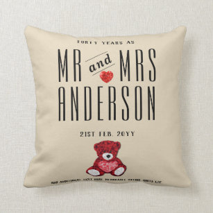 40th RUBY Wedding Anniversary Gift Personalized Throw Pillow