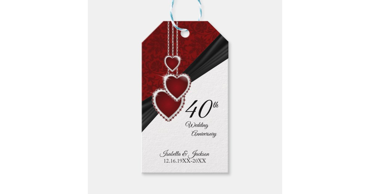 Ruby Wedding Anniversary Gifts: 40th Ruby Wedding Anniversary Gift Tags