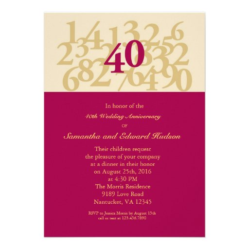 40th Ruby Wedding Anniversary Invitation (front side)