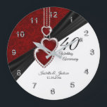 "40th Ruby Wedding Anniversary Keepsake on White Large Clock<br><div class=""desc"">Personalize Clock. 40th, 52nd or 80th Ruby Wedding Anniversary Keepsake or years of service. 100% Customizable. Ready to Fill in the box(es) or Click on the CUSTOMIZE button to add, move, delete, resize or change any of the font or graphics. Made with high resolution vector and/or digital graphics for a...</div>"