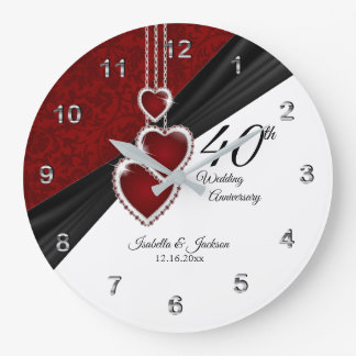 40th Ruby Wedding Anniversary Keepsake on White Large Clock