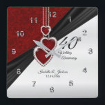 "40th Ruby Wedding Anniversary Keepsake Square Wall Clock<br><div class=""desc"">⭐⭐⭐⭐⭐ 5 Star Review Personalize Clock. 40th, 52nd or 80th Ruby Wedding Anniversary Keepsake ready for you to personalize. ⭐This Product is 100% Customizable. Graphics and / or text can be added, deleted, moved, resized, changed around, rotated, etc... 99% of my designs in my store are done in layers. This...</div>"