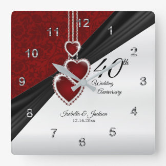 40th Ruby Wedding Anniversary Keepsake Square Wall Clock