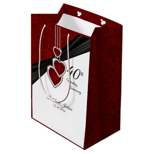 40th Ruby Wedding Anniversary Medium Gift Bag