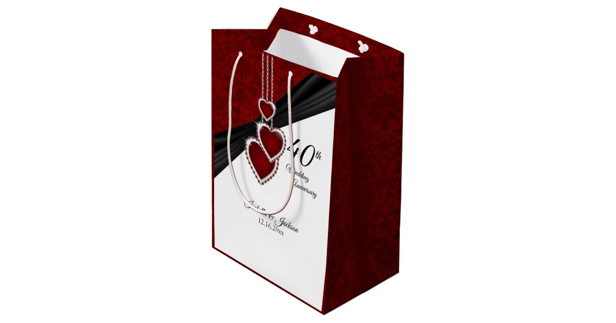 Gifts For A Ruby Wedding Anniversary: 40th Ruby Wedding Anniversary Medium Gift Bag