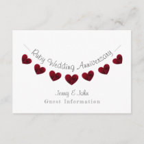 40th Ruby Wedding anniversary party/ guest details Enclosure Card