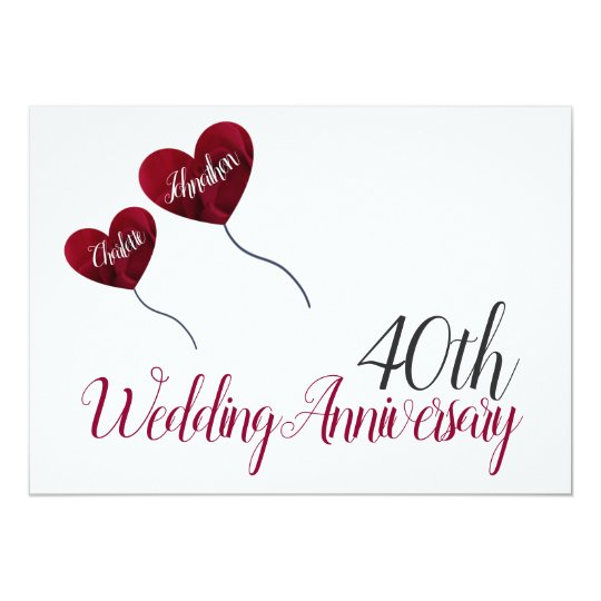40th Ruby Wedding Anniversary Red Heart Balloon Invitation