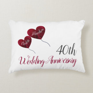 40th Ruby wedding anniversary red heart balloons Accent Pillow