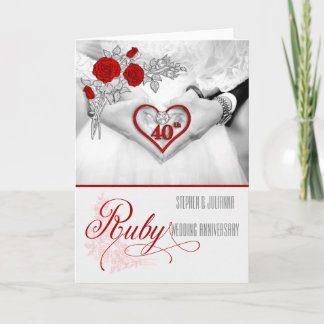 40th Ruby Wedding Anniversary Red Heart Card