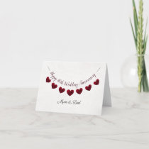 40th Ruby Wedding Anniversary red heart mum & dad Card