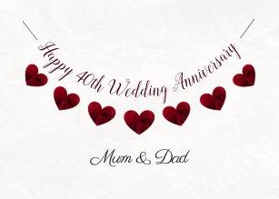 40th Ruby Wedding Anniversary Red Heart Mum Dad Card