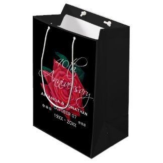 40th Ruby Wedding Anniversary Red Rose Medium Gift Bag