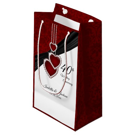 40th Ruby Wedding Anniversary - Small Small Gift Bag