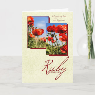 40th Ruby Wedding Anniversary With Poppies Card