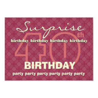 40th SUPRISE Birthday Modern Red Circles W043 Card