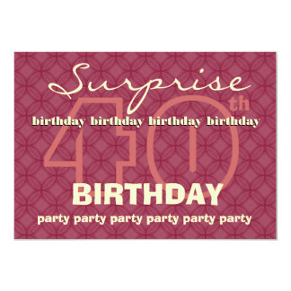 "40th SUPRISE Birthday Modern Red Circles W043 5"" X 7"" Invitation Card"