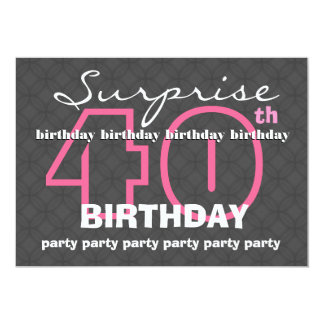 40th SUPRISE Birthday Modern Teal and Black E823 Card