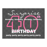"40th SUPRISE Birthday Modern Teal and Black E823 5"" X 7"" Invitation Card"