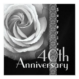 40th SURPRISE Anniversary Invitation - SILVER Rose
