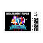 40th SURPRISE Birthday Balloons Black B30Z Postage Stamp