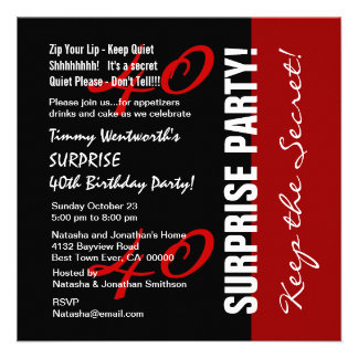 40th SURPRISE Birthday Black Red White W1895 Personalized Invitations