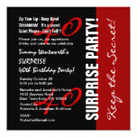 40th SURPRISE Birthday Black Red White W1895 Announcements