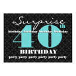 40th SURPRISE Birthday Black Turquoise W1858 Cards