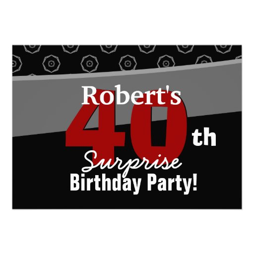 40th Surprise Birthday Black White Horizontal Custom Announcements