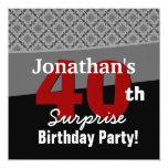 40th Surprise Birthday Black White Red Diamonds Personalized Invites
