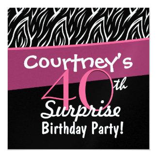40th Surprise Birthday Black White Zebra Flames Card