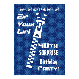 40th SURPRISE Birthday Blue Pattern Zip  Lip  H200 Announcements