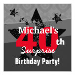 40th Surprise Birthday Charcoal and Red Grunge C40 Card