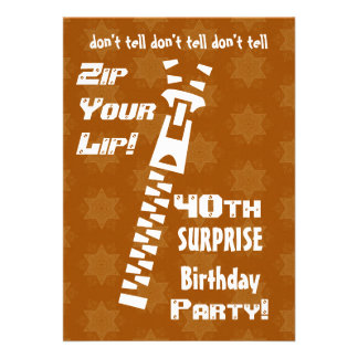40th SURPRISE Birthday Gold Stars Zip Your Lip Invites