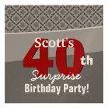 40th Surprise Birthday Gray Red Diamonds R274 Announcements