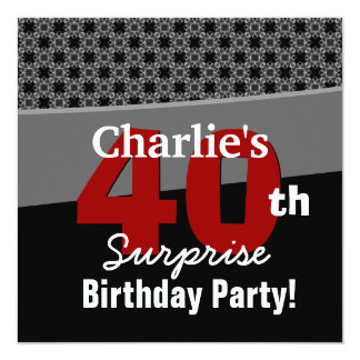 40th Surprise Birthday Modern Black White Red Gray Card