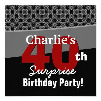 40th Surprise Birthday Modern Black White Red Gray Invite