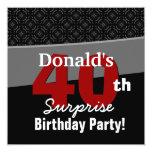 40th Surprise Birthday Modern Black White Red V05 Custom Invitation