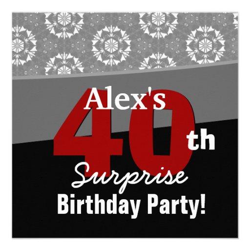 40th Surprise Birthday Modern Black White Red V13 Custom Invites