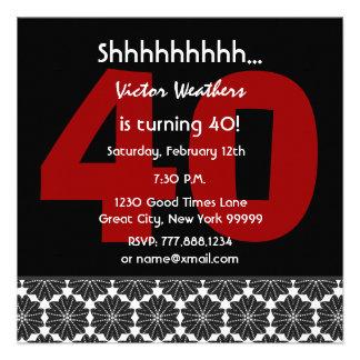 40th Surprise Birthday Modern Black White Red V34 Custom Invites