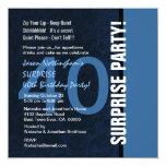 40th SURPRISE Birthday Modern Blue S592 Personalized Invitation