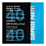 40th Surprise Birthday Modern Turquoise Blue W1780 5.25x5.25 Square Paper Invitation Card