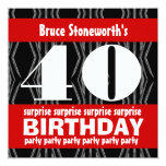 40th Surprise Birthday Party Black Red White Invitation