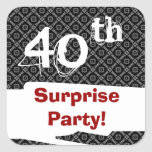 40th Surprise Birthday Party Black White and Red Square Stickers