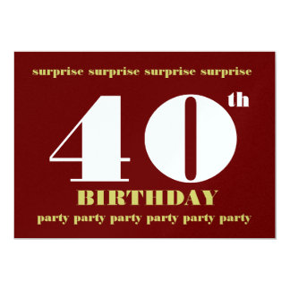 40th SURPRISE Birthday Party Burgundy and Tan Card