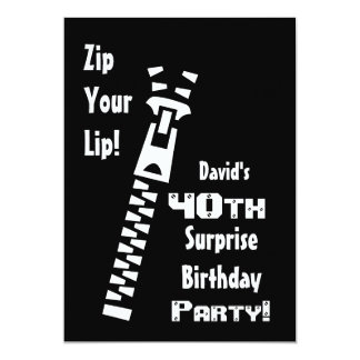 40th SURPRISE Birthday Party Custom Name G200 5x7 Paper Invitation Card