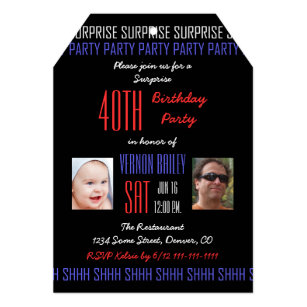 40th Surprise Birthday Party For Men With Pictures Invitation
