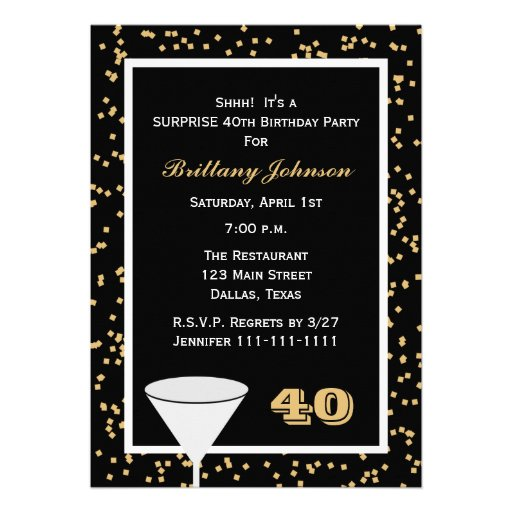 40th Surprise Birthday Party Invitation