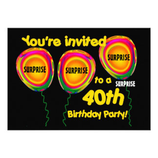 40th SURPRISE Birthday Party Invitation Balloons